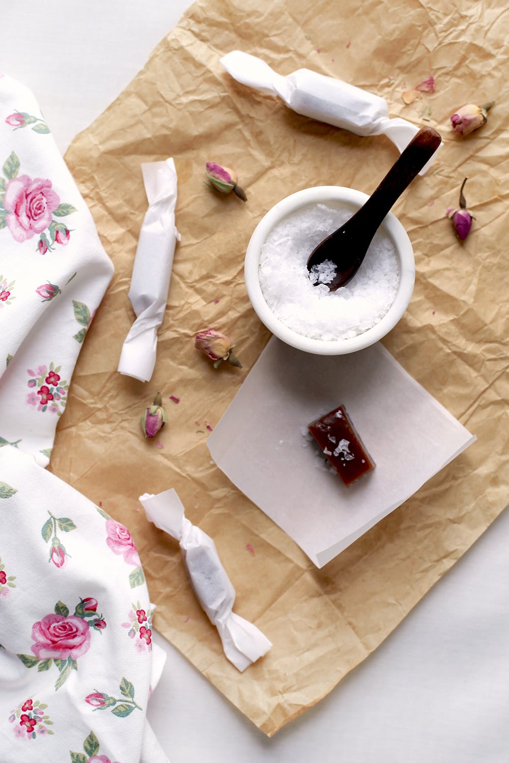 rose infused caramels recipe - sugar and cloth