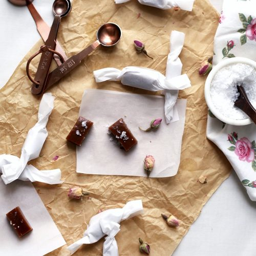 rose infused caramels recipe - sugar and cloth