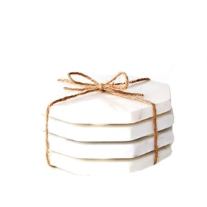 These Marble Stone Octagonal Coasters are one of Sugar & Cloth's entertaining finds.