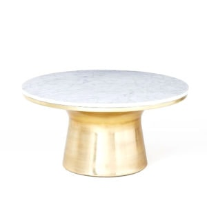 This Marble-Topped Pedestal Coffee Table is one of Sugar & Cloth's favorite home decor finds.