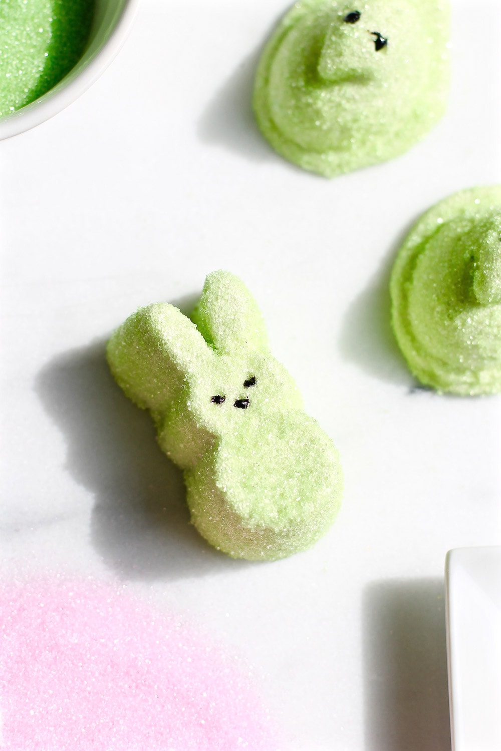 photo of how to make homemade marshmallow Peeps for Easter by top Houston lifestyle blogger Ashley Rose of Sugar & Cloth
