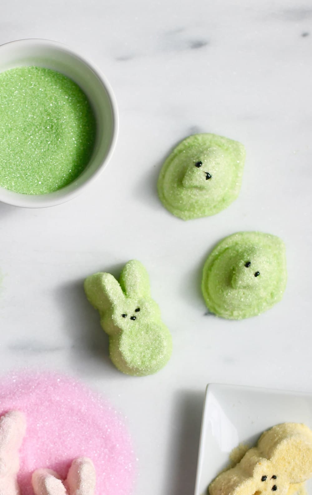 photo of the green spiked Easter Peeps bunnies and chicks by top Houston lifestyle blogger Ashley Rose of Sugar & Cloth