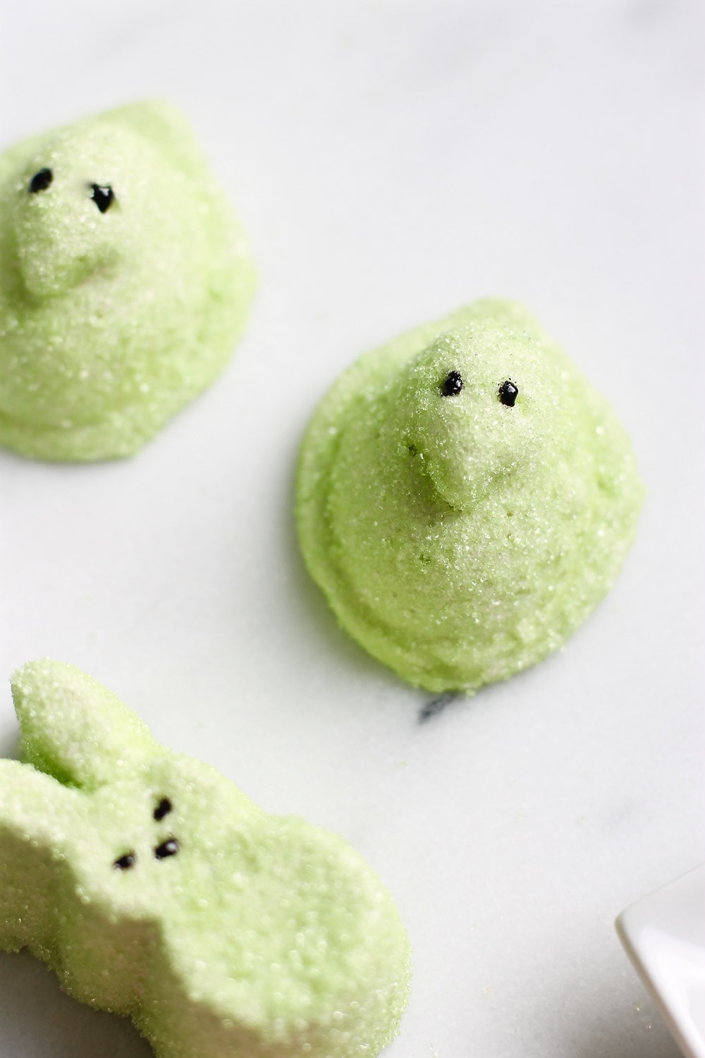 close up of the finished green marshmallow spiked Easter Peeps by top Houston lifestyle blogger Ashley Rose of Sugar & Cloth