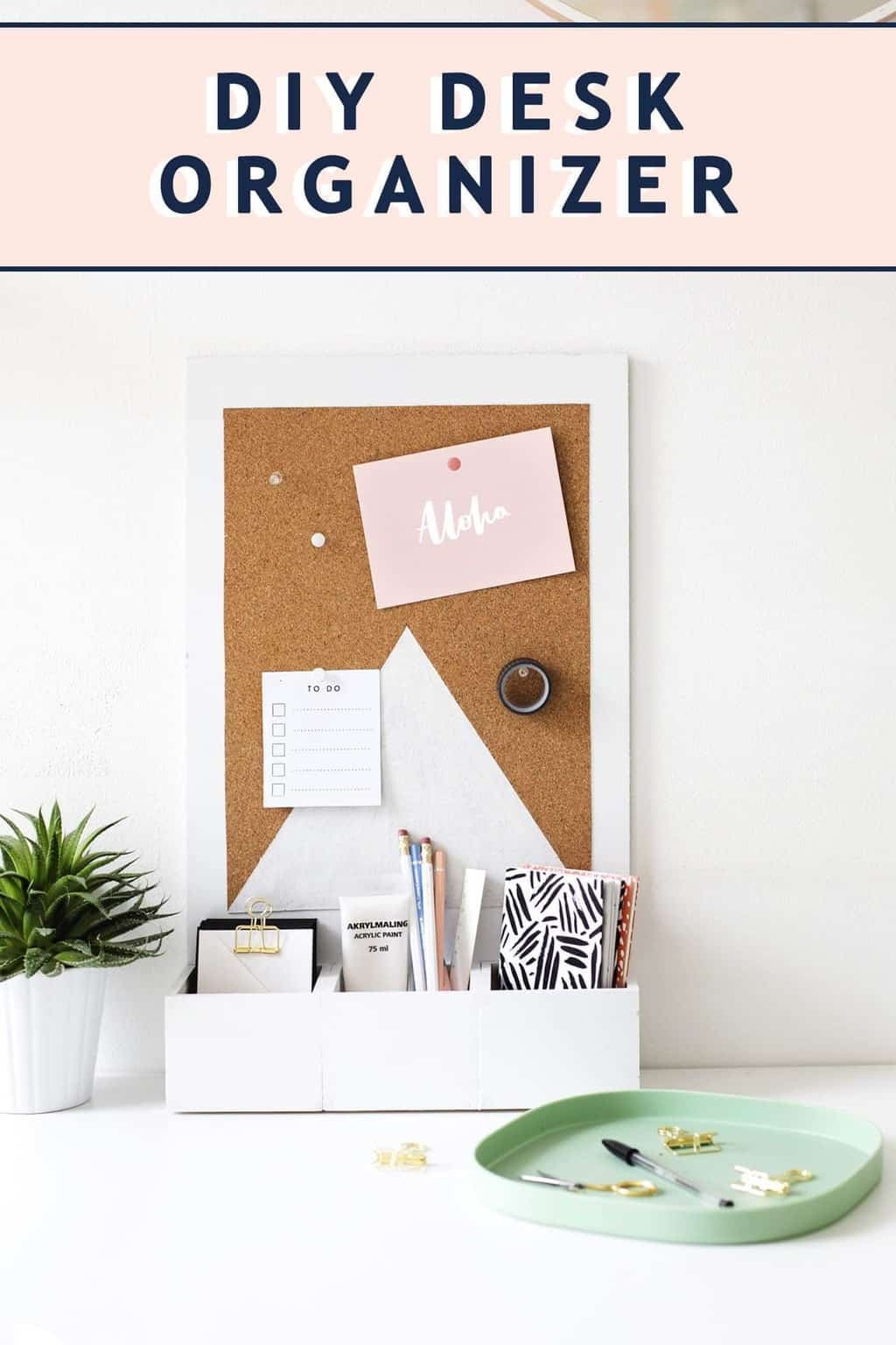 photo of how to make a diy desk organizer by top Houston lifestyle blogger Ashley Rose of Sugar & Cloth