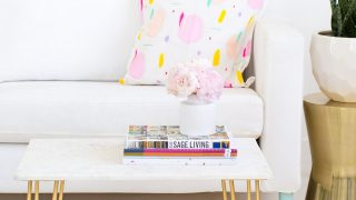 DIY Marble Table Top with Gold Accents
