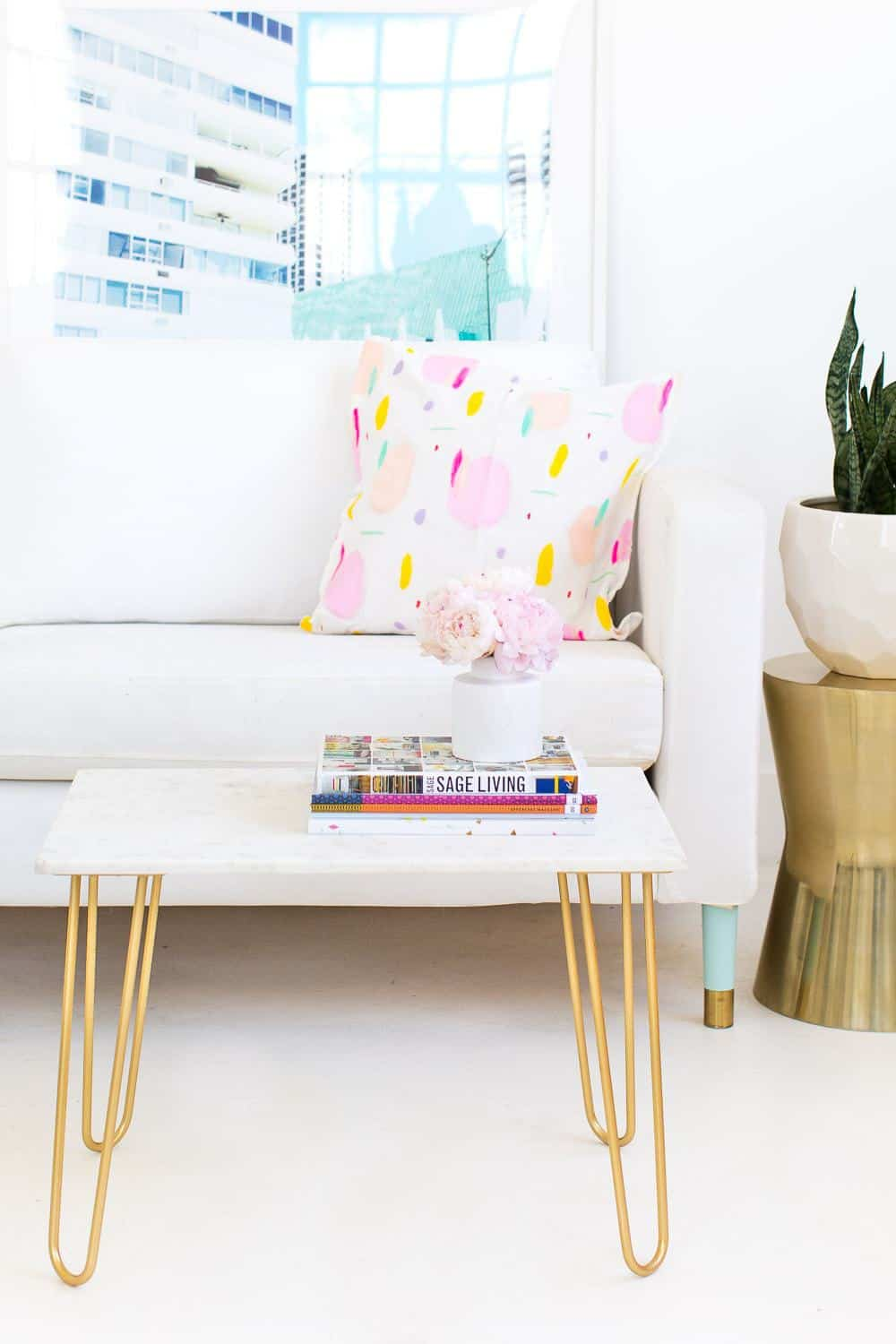 DIY Marble and Gold Accent Table Sugar Cloth