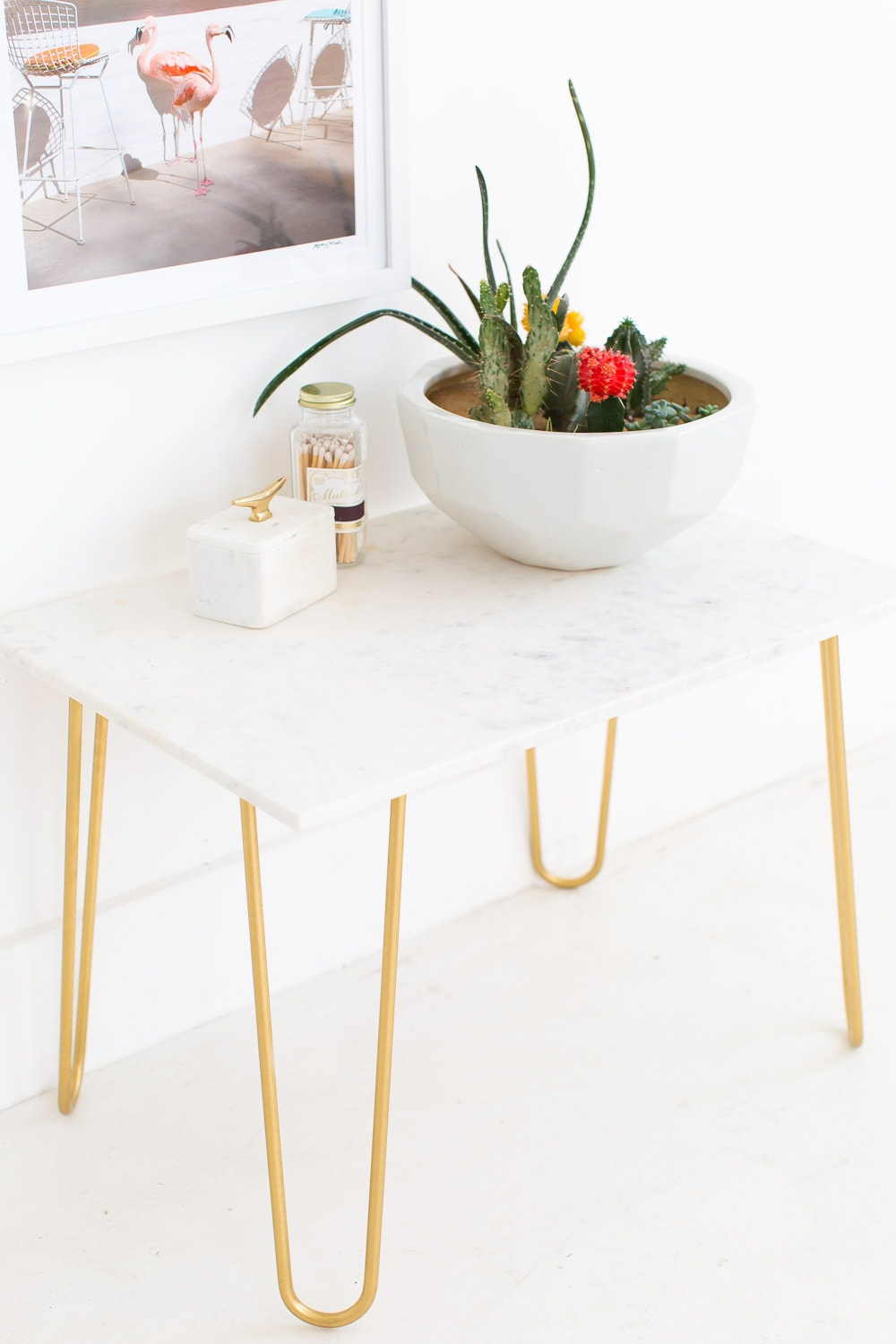 Gold Accent Table with Marble Top sugar and cloth - home decor ideas  by Houston Blogger Ashley Rose #homedecor #decor #gold #diy #doityourself #tabletop #marble #sidetable #table