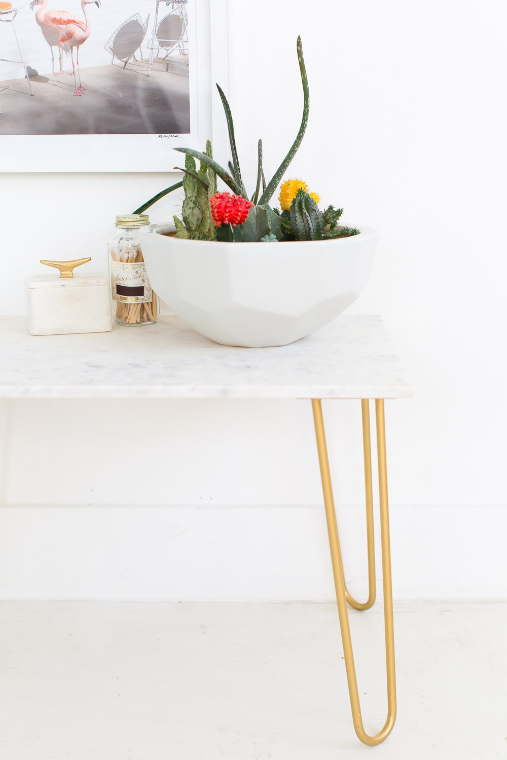 DIY marble and gold accent side table - sugar and cloth - home decor ideas  by Houston Blogger Ashley Rose #homedecor #decor #gold #diy #doityourself #tabletop #marble #sidetable #table