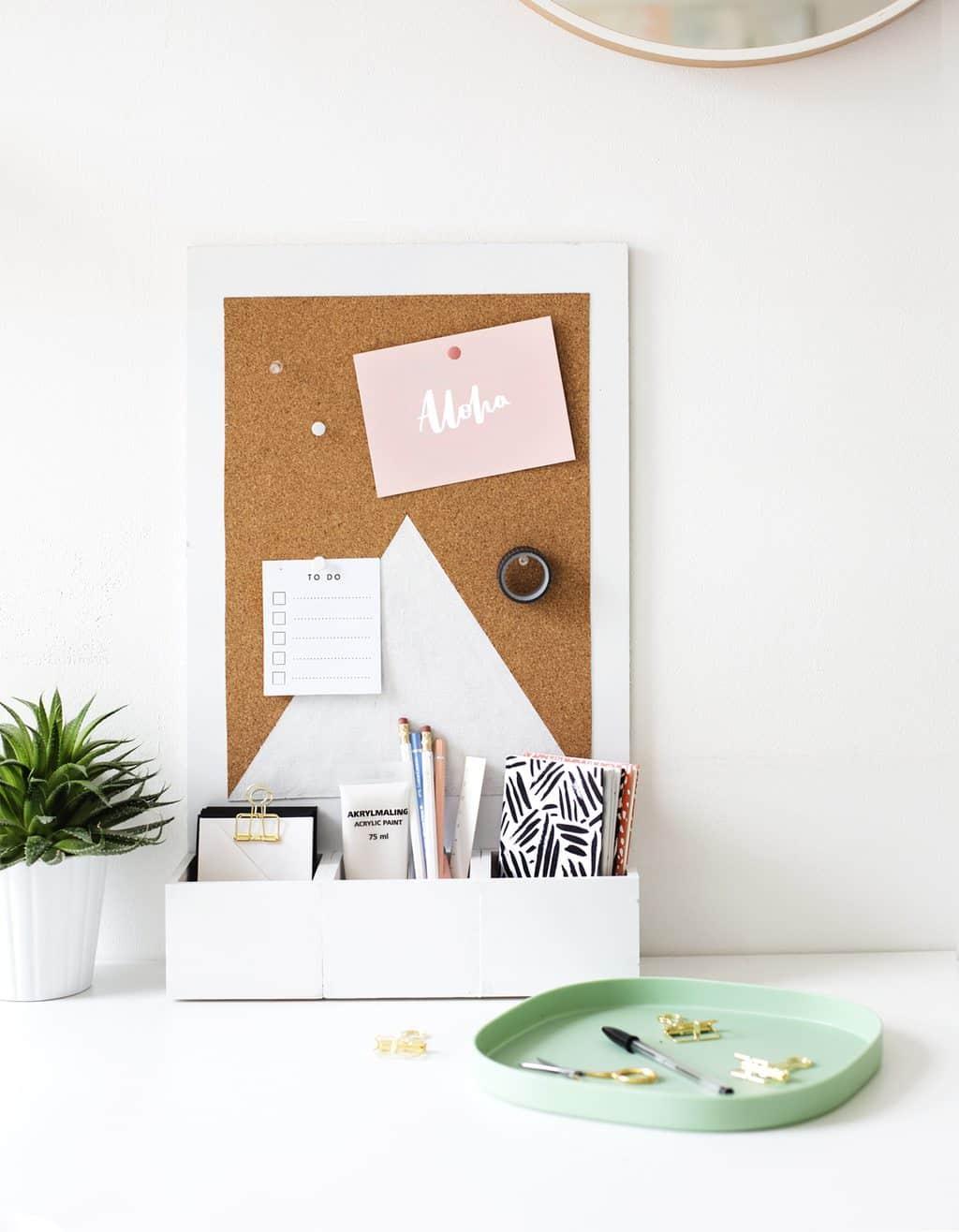 photo of a diy desk organizer with a cork board by top Houston lifestyle blogger Ashley Rose of Sugar & Cloth