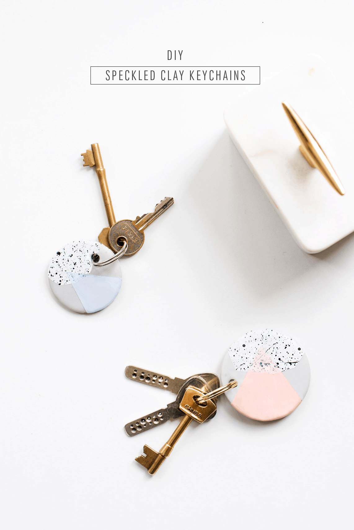 Speckled DIY Clay Keychains - Sugar & Cloth