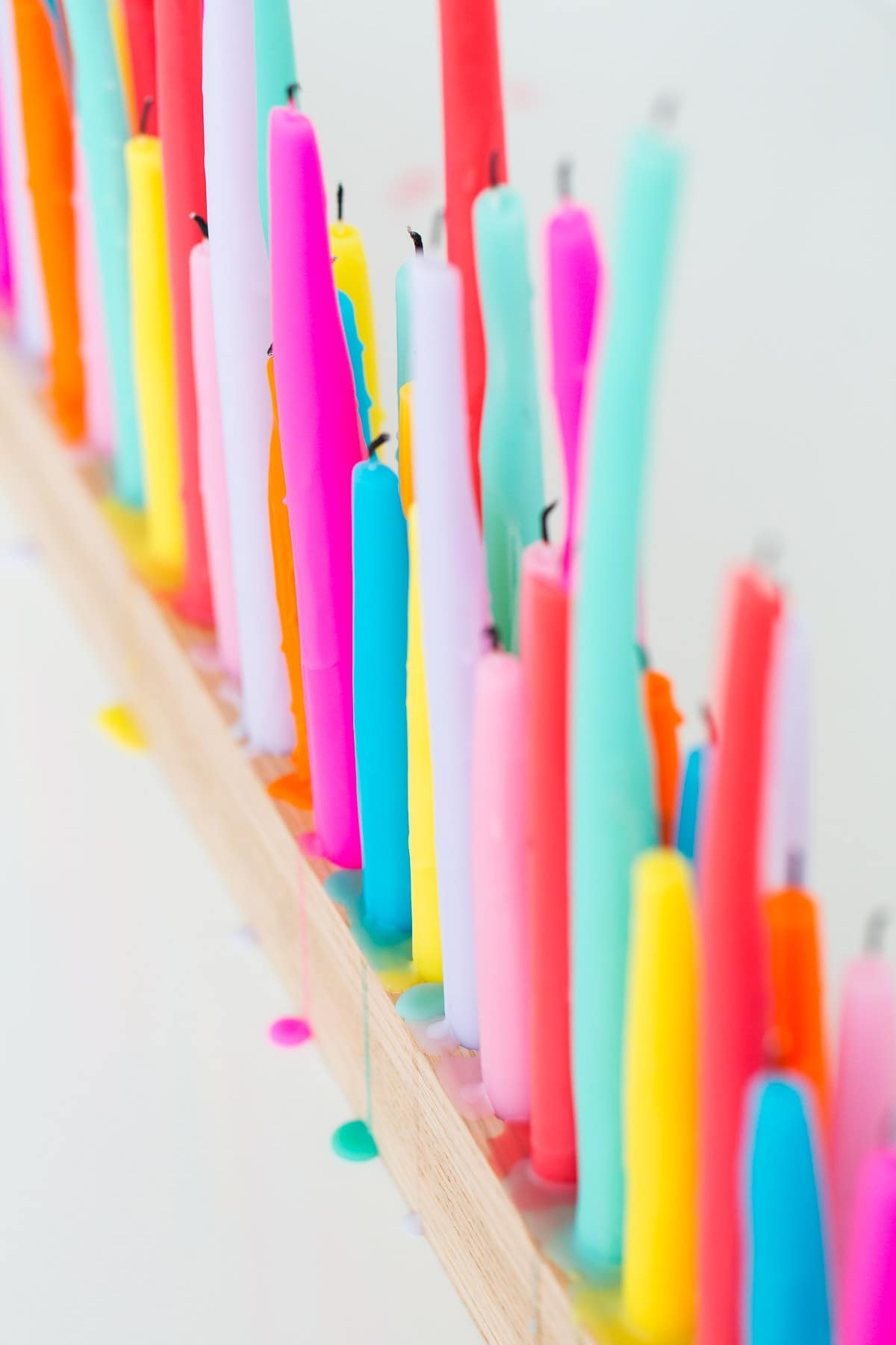 A perfectly colorful rainbow DIY taper candle holder for parties and entertaining - sugar and cloth