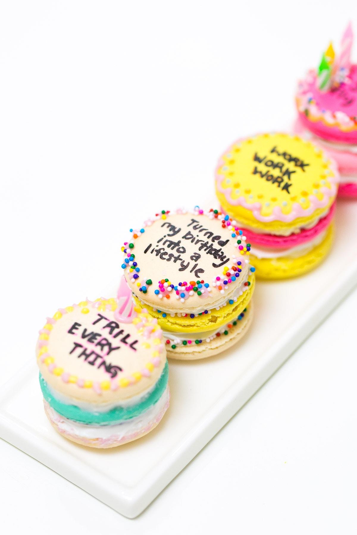 Drake on Cake Inspired Birthday Cake Macarons Sugar Cloth