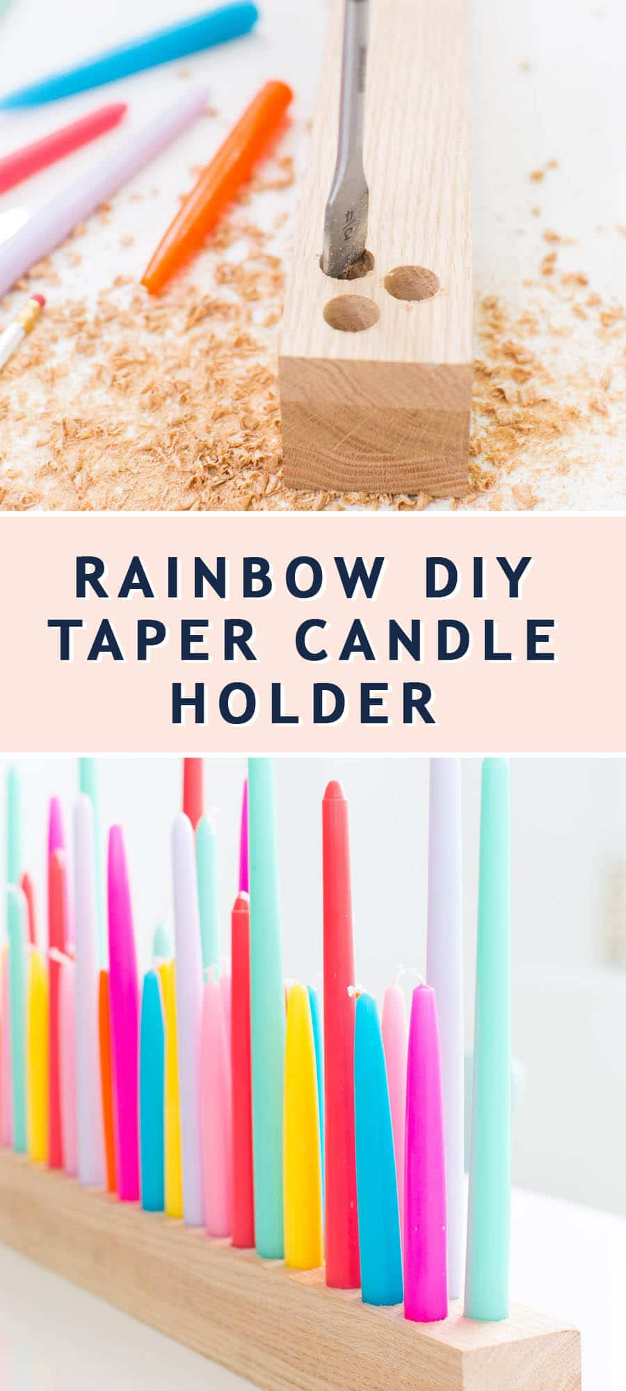 photo of how to make a Rainbow DIY Taper Candle Holder by top Houston lifestyle blogger Ashley Rose of Sugar & Cloth