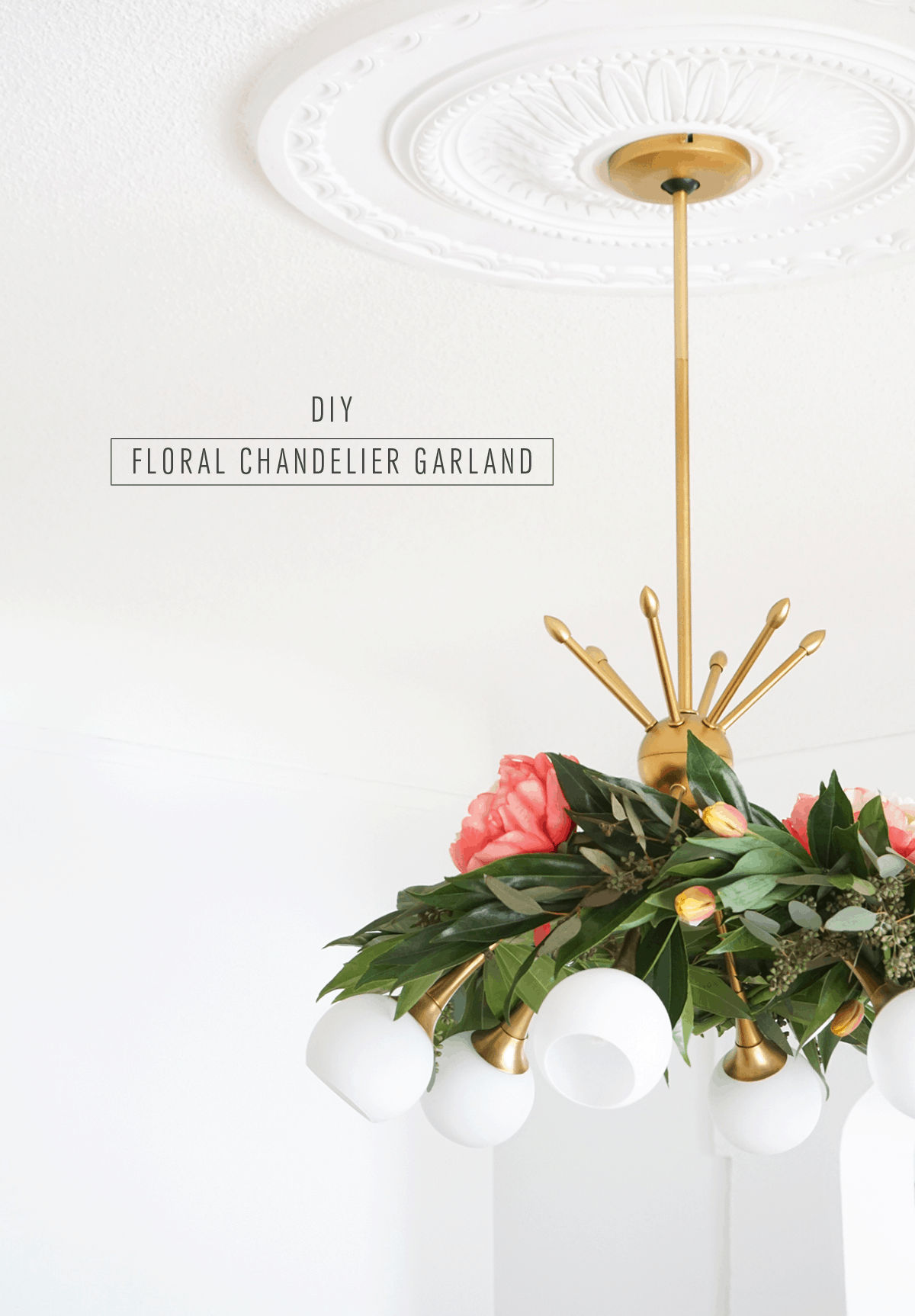 Pretty for Spring! This DIY floral chandelier garland is the perfect touch to your living room decor during your next dinner! - sugar and cloth