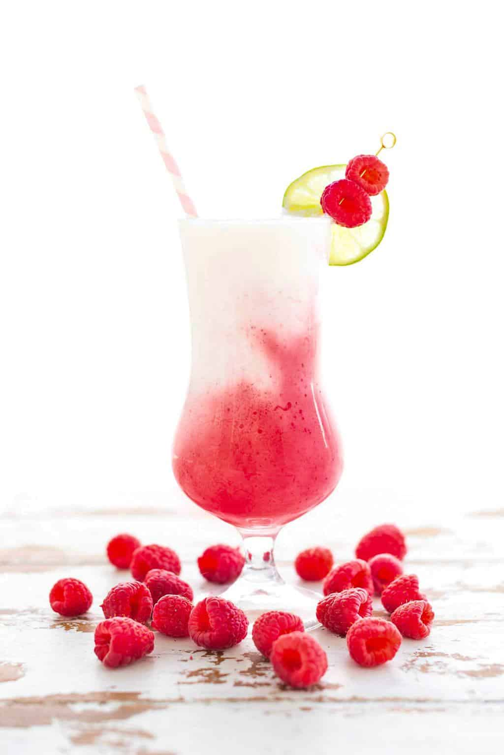 Coconut & Strawberry Raspberry Frozen Daiquiri - sugar and cloth