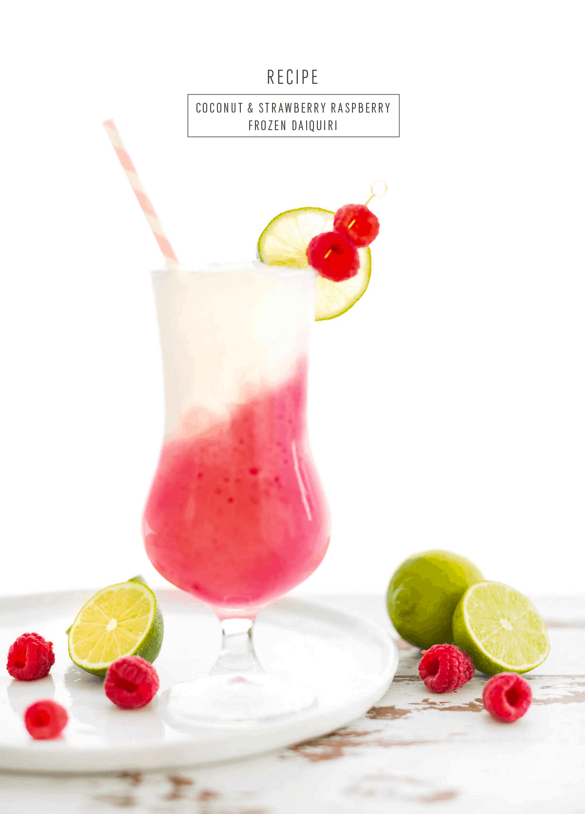 Coconut & Strawberry Raspberry Frozen Daiquiri - sugar and cloth