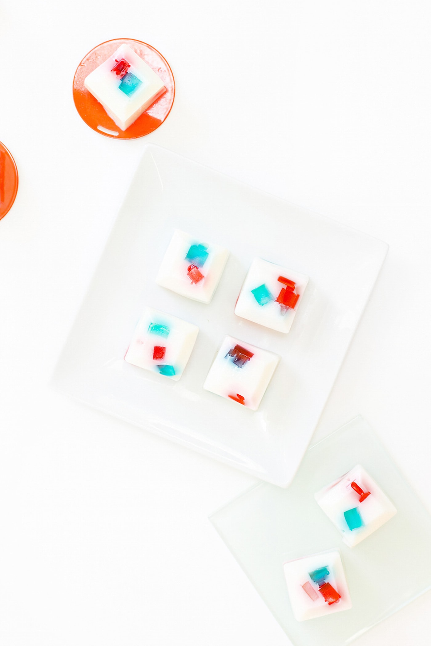 overhead photo of jello shots for the 4th of july on a plate