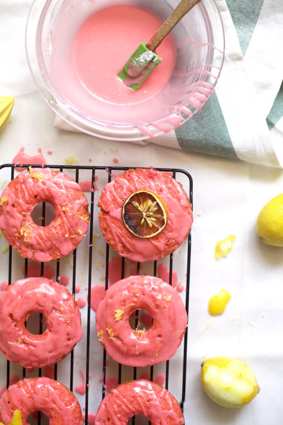 A yummy and colorful pink lemonade donuts recipe - sugar and cloth - houston blogger