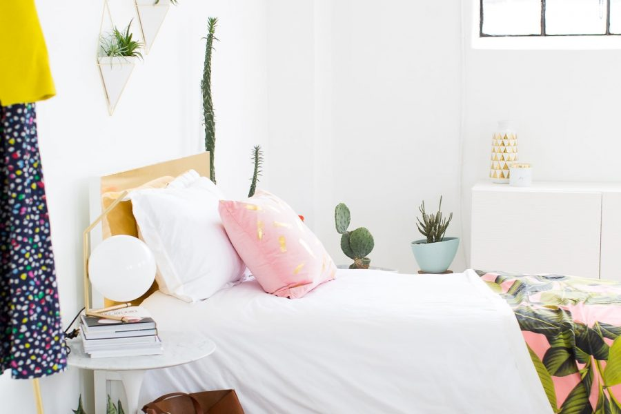 Sharing how to make this DIY diy faux brass headboard on Sugar & Cloth, plus our LOCAL magazine feature! - houston blogger - home decor