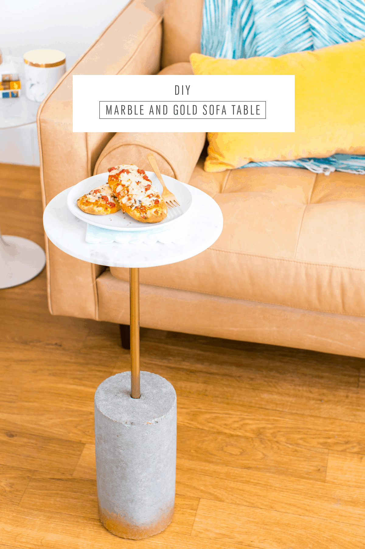 DIY marble and gold c table for tv dinners and snacking! - sugar and cloth - houston blogger - ashley rose #movienight #table #diytable #ctable #roundtable #marble #gold #homedecor