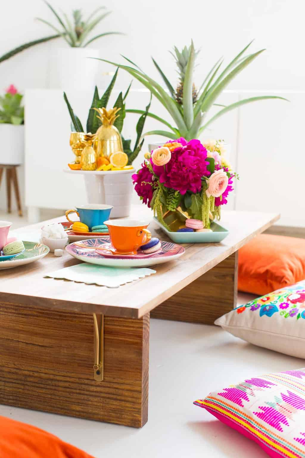 DIY Low Floor Table Tutorial perfect for floor seating ! Sugar & Cloth by Top Houston Lifestyle Blogger Ashley Rose #diy #table #lowtable #floorseating #wood #simple #tablediy #homedecor #diydecor