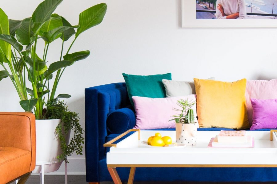 A colorful livingroom makeover: how to choose the perfect white wall - sugar and cloth - houston blogger - best DIY blog - ashley rose - Instagram