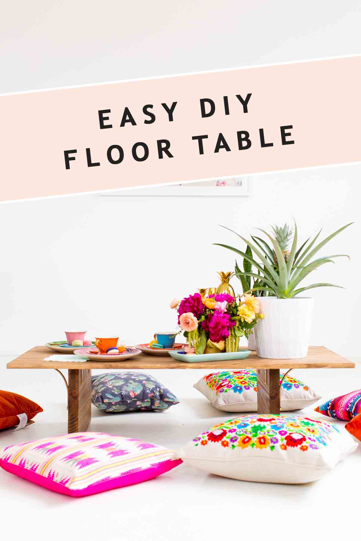 photo with graphic header of diy floor table