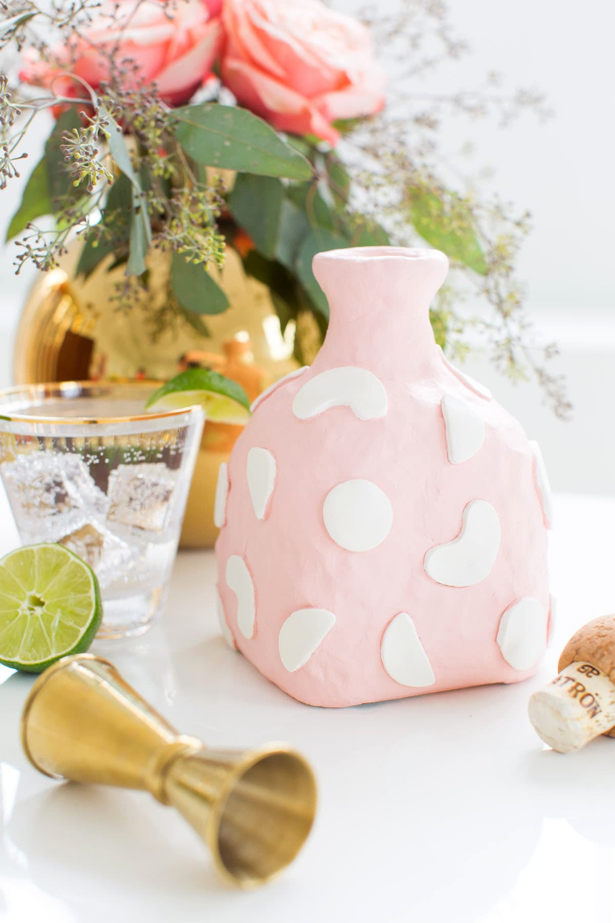 A cute statement DIY clay decanter made from an old Patron bottle! - sugar and cloth - Best DIY blog 2015 - houston - ashley rose