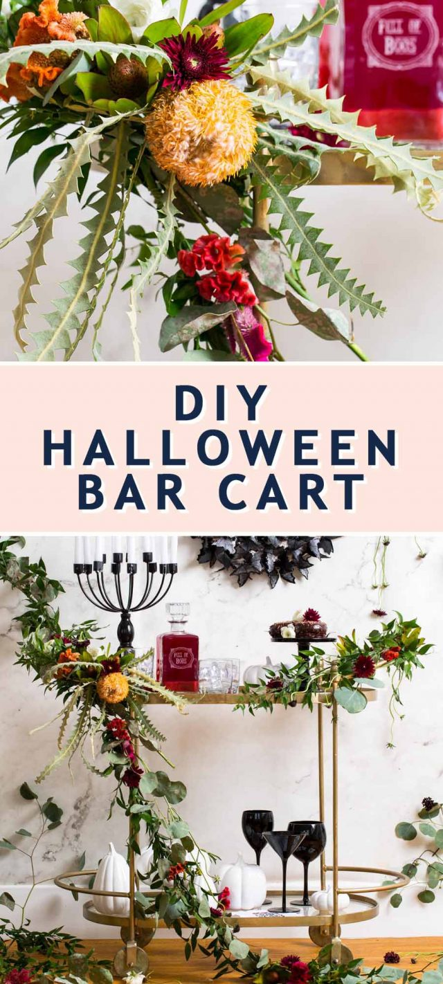 photo of how to make and decorate a spooky DIY halloween bar cart by top Houston lifestyle blogger Ashley Rose of Sugar & Cloth