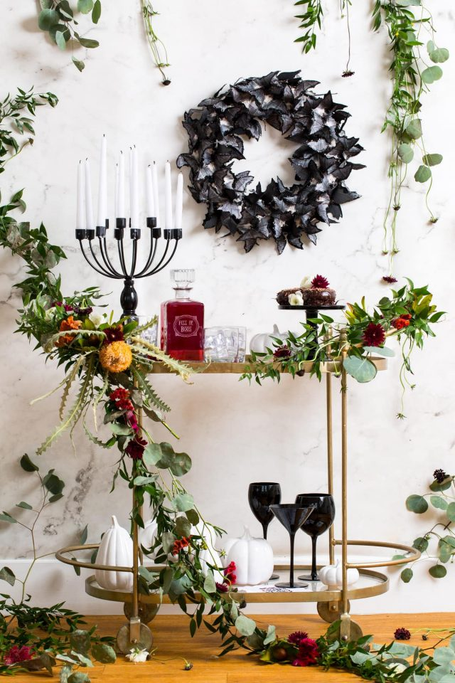 photo of a Spooky DIY Floral Halloween Bar Cart by top Houston lifestyle blogger Ashley Rose of Sugar & Cloth