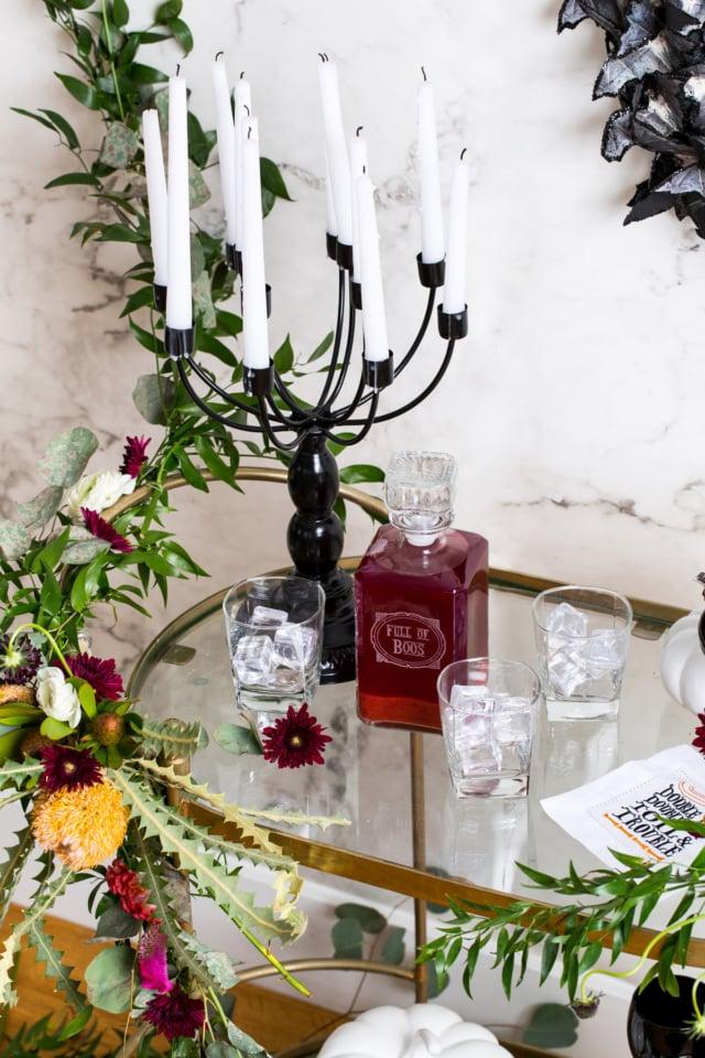 Spooky DIY Floral Bar Cart - Sugar & Cloth - Halloween - Houston Blogger - Holiday