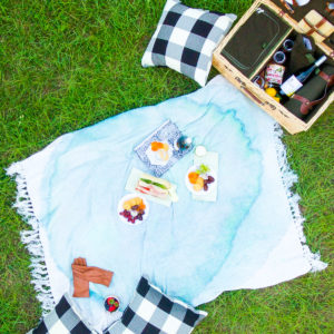 A Fall Picnic: DIY Watercolor Throw Blanket