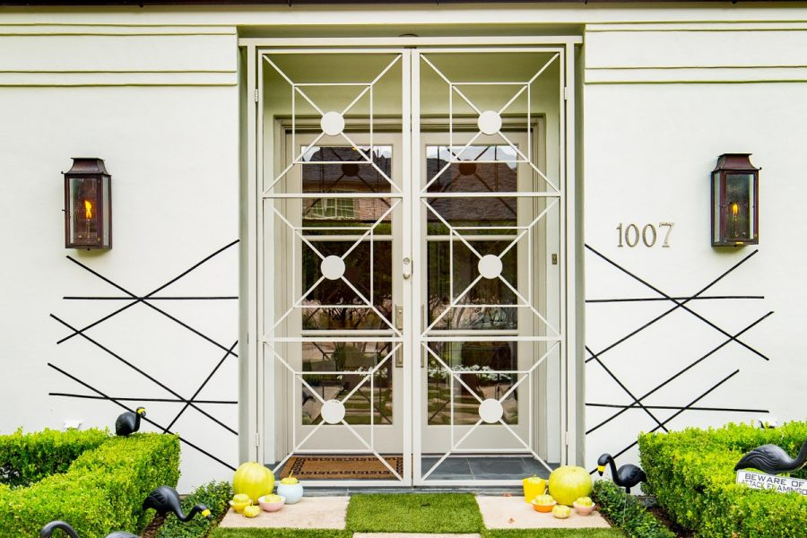 a perfectly spooky geometric entry way - Palm Springs Inspired Halloween Entryway Decor & Product Round Up by top Houston lifestyle blogger Ashley Rose - #halloweendecor #halloween #decor #home #holidays #curbappeal #palmsprings #midcentury