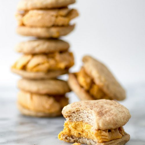 photo of the best fall dessert, Snickerdoodle Pumpkin Ice Cream Sandwiches of by top Snickerdoodle Pumpkin Ice Cream Sandwiches by Houston lifestyle blogger Ashley Rose of Sugar & Cloth