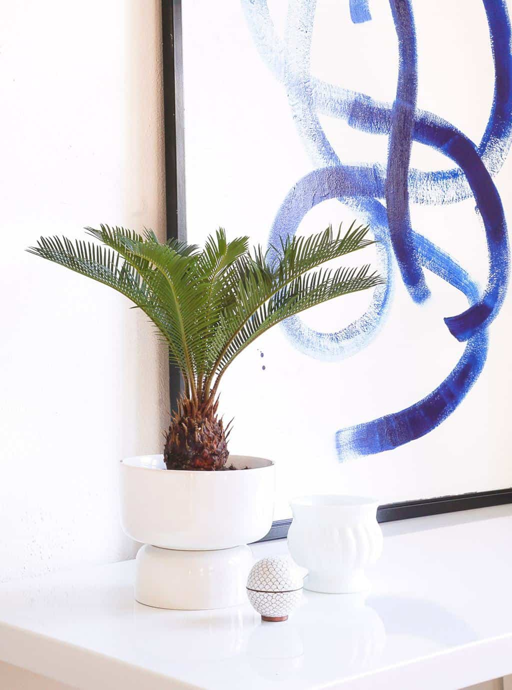 photo of an easy DIY Mid Modern Planter on a table