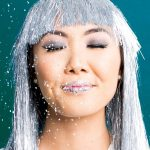 photo of a girl with glitter and sequin lips in silver wig by sugar and cloth
