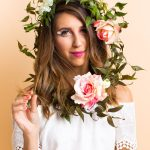 photo of a girl looking at the camera in a floral crown halloween wig by sugar and cloth