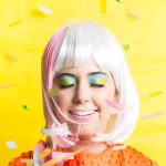 photo of a girl in a striped wig with confetti by sugar and cloth