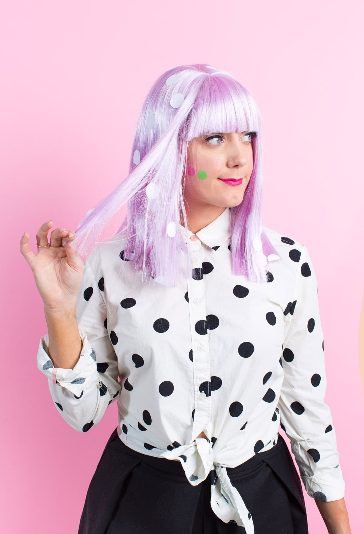Winks & Wigs: DIY Wig and Lash Combinations for Halloween by Sugar & Cloth -lavender wig - polka dot - ideas - ashley rose - best DIY blog - houston blogger #diy #blogger #costume #halloween #diycostume #halloweencostume #wig #falsies #lastminute