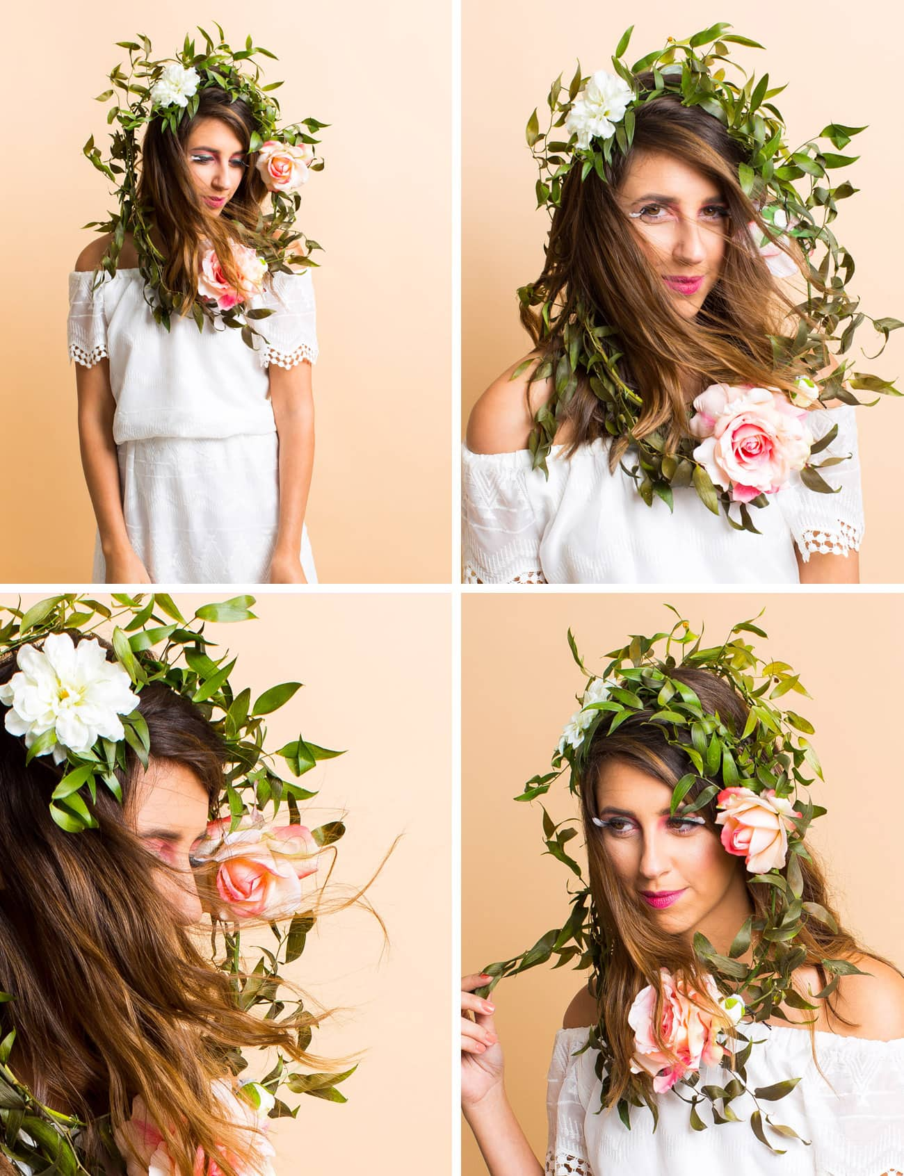 Winks & Wigs: DIY Wig and Lash Combinations for Halloween by Sugar & Cloth- Floral Headpiece- Flowers - ideas - ashley rose - best DIY blog - houston blogger #diy #blogger #costume #halloween #diycostume #halloweencostume #wig #falsies #lastminute