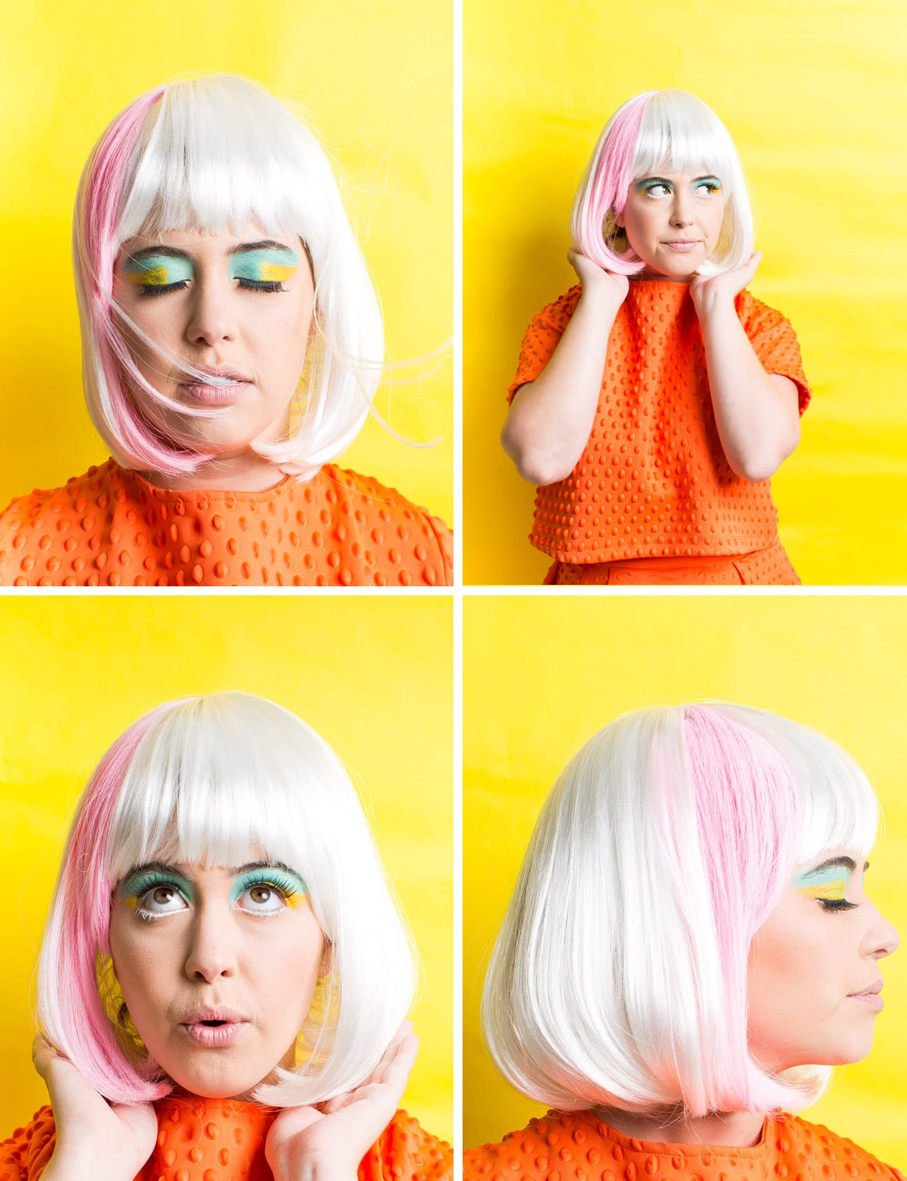Winks & Wigs: DIY Wig and Lash Combinations for Halloween by Sugar & Cloth -lavender wig - 60's Mod - Color Block - ideas - ashley rose - best DIY blog - houston blogger #diy #blogger #costume #halloween #diycostume #halloweencostume #wig #falsies #lastminute