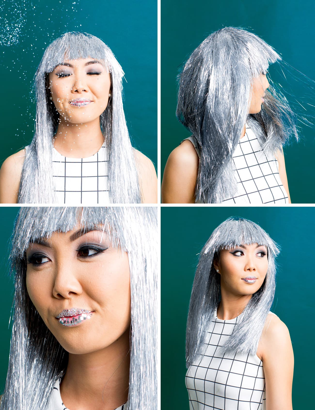 Winks & Wigs: DIY Wig and Lash Combinations for Halloween by Sugar & Cloth- Metallic Wig- Glitter Lips - ideas - ashley rose - best DIY blog - houston blogger #diy #blogger #costume #halloween #diycostume #halloweencostume #wig #falsies #lastminute #spacegirl