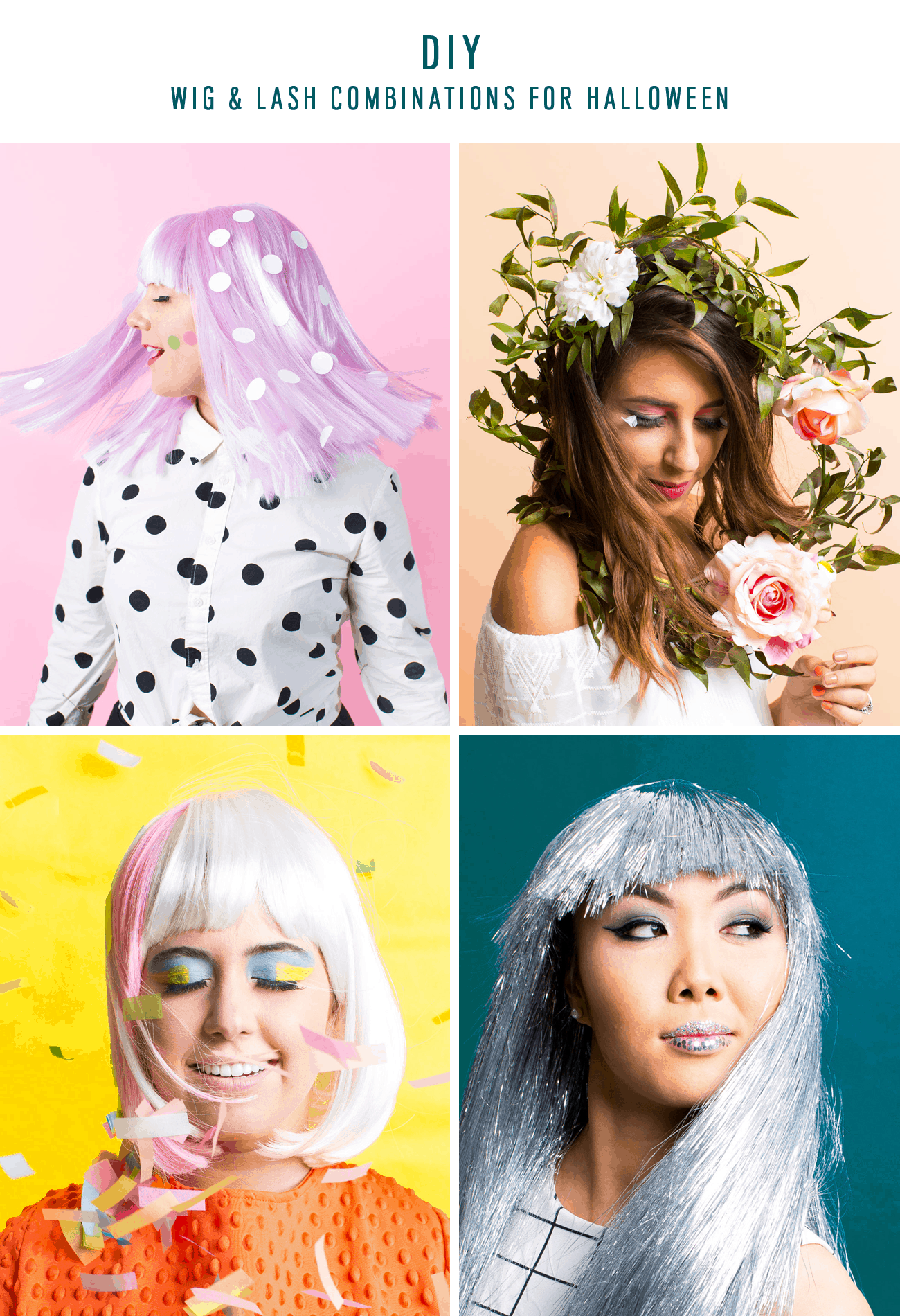 Winks & Wigs: DIY Wig and Lash Combinations for Halloween by Sugar & Cloth- Metallic Wig - ideas - ashley rose - best DIY blog - houston blogger #diy #blogger #costume #halloween #diycostume #halloweencostume #wig #falsies #lastminute #spacegirl