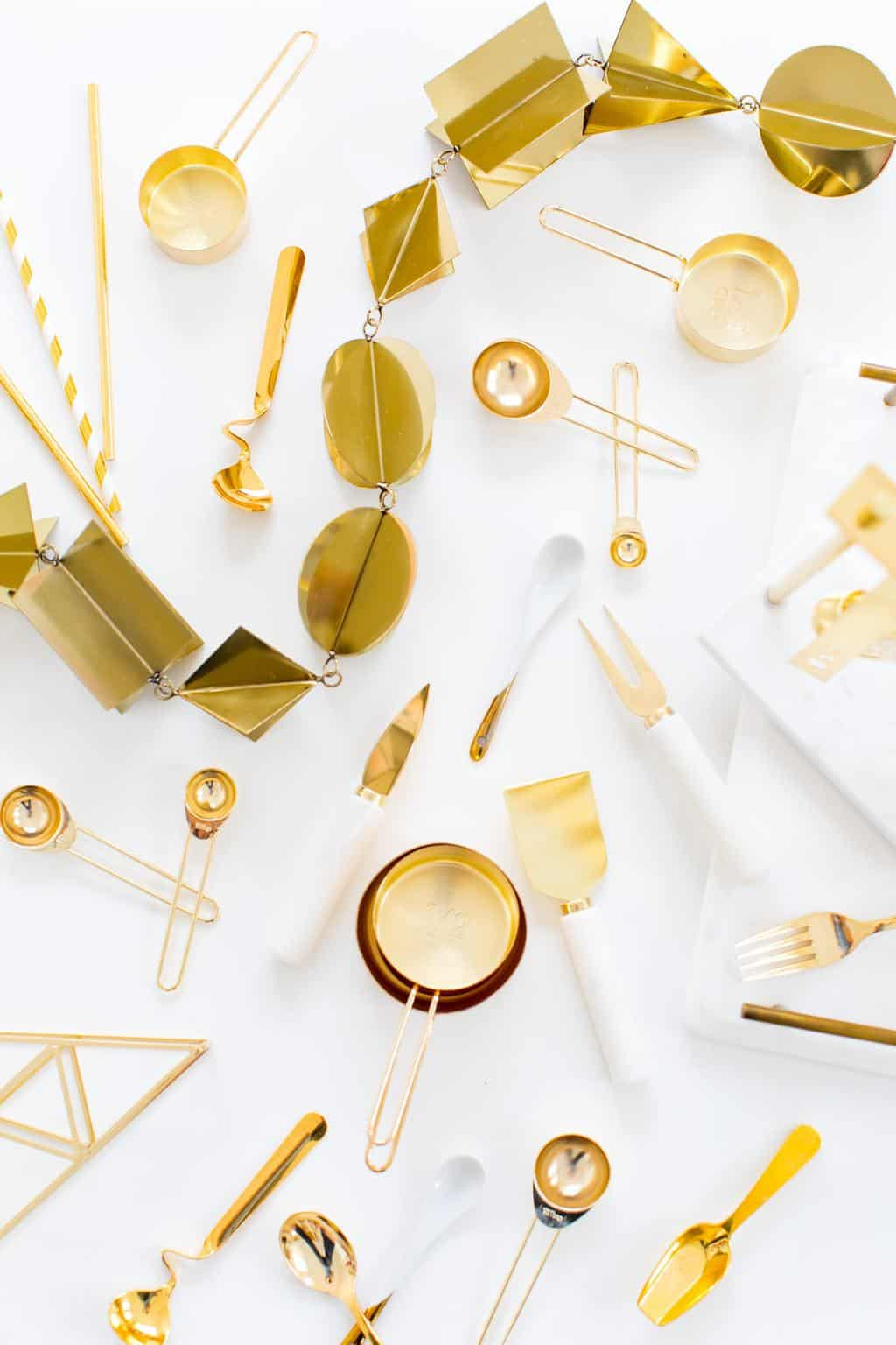 The Best Gold and Marble Entertaining Accessories according to Ashley Rose, writer of award winning DIY and entertaining blog, Sugar & Cloth!