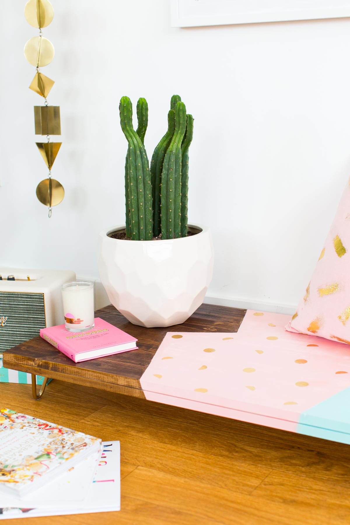 An Abstract DIY Modern Low Bench by Lifestyle and DIY blogger, Ashley Rose of Sugar & Cloth