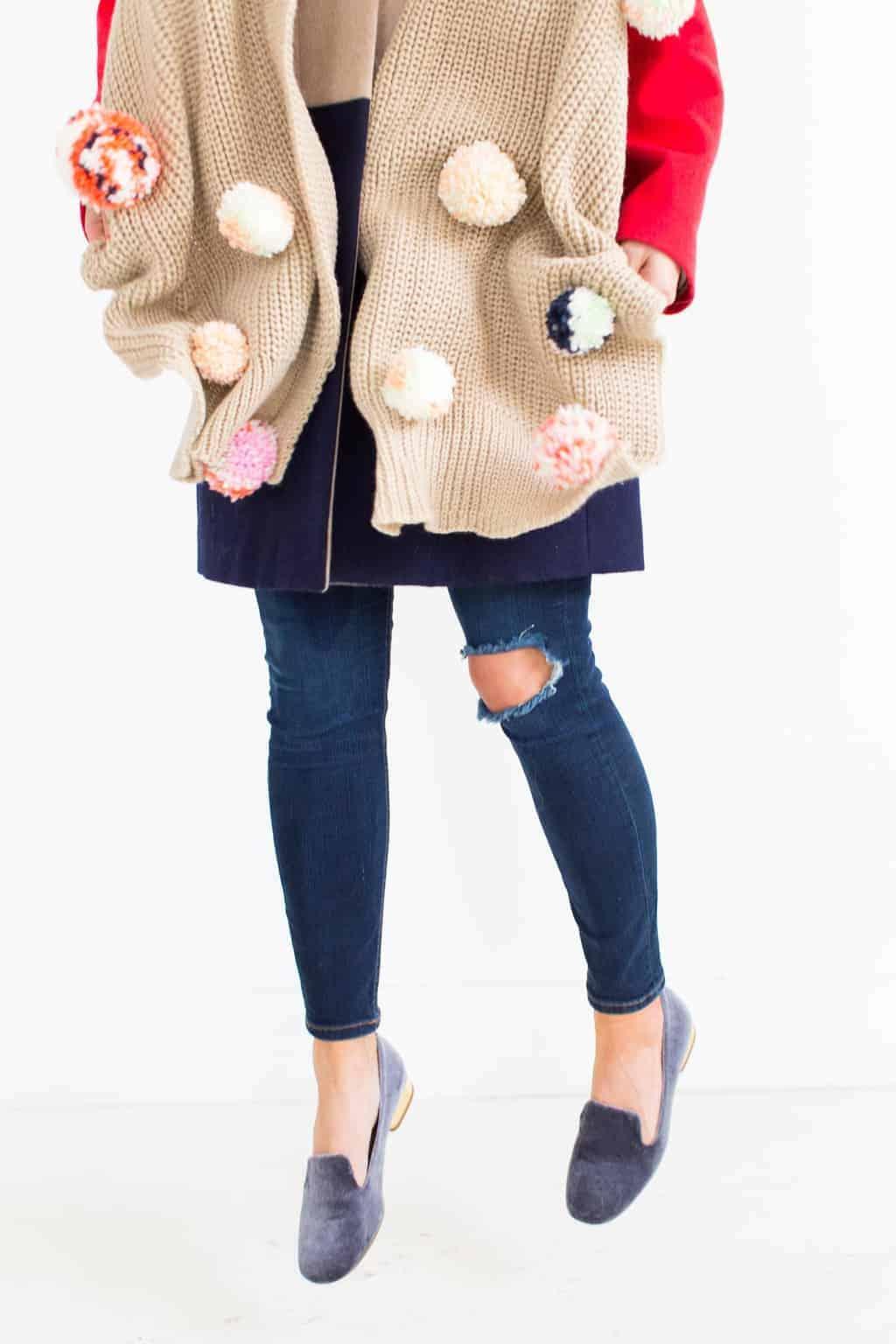 DIY Statement Pom Pom Scarf by Ashley Rose of the award winning DIY and lifestyle blog, Sugar & Cloth.