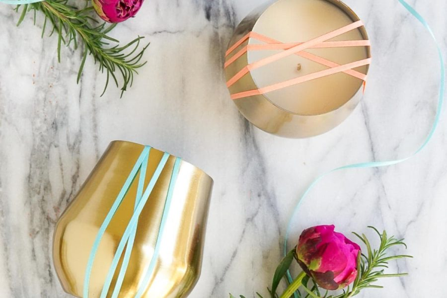 photo of the essential oil candles, diy rosemary grapefruit candles perfect for gifting by top Houston lifestyle blogger Ashley Rose of Sugar & Cloth