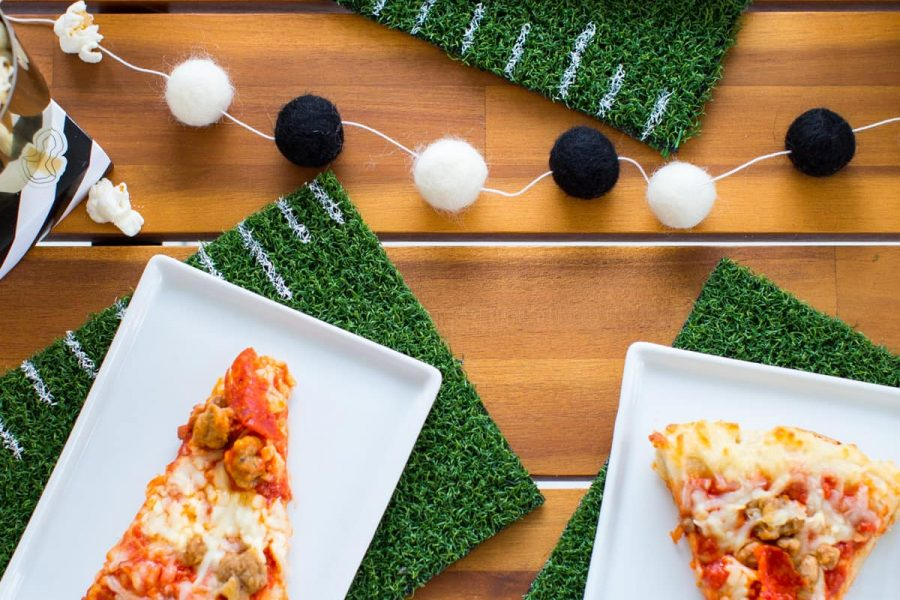 Prepping for game day with DIY Football Coasters & Placemats with Ashley Rose of Lifestyle Blog Sugar & Cloth!