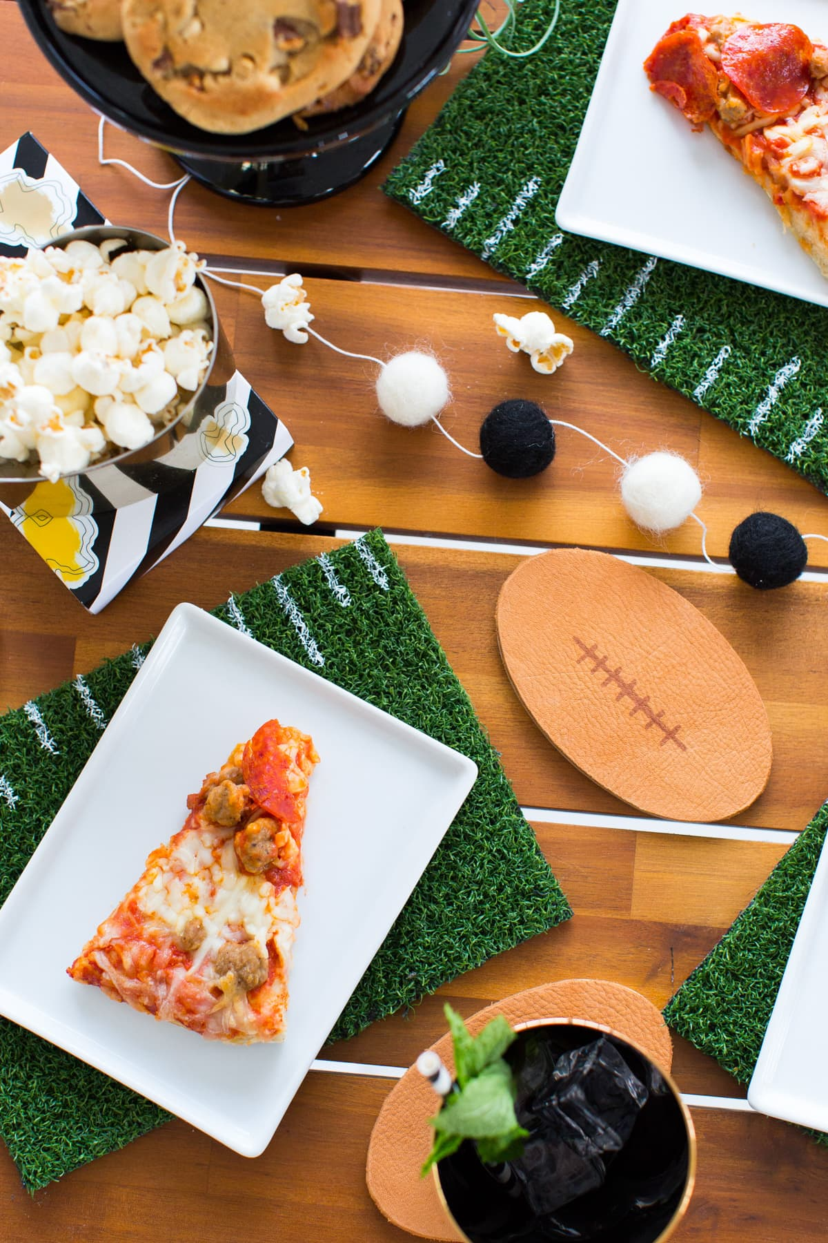 We're prepping for game day with these DIY Football Coasters & Placemats on Sugar & Cloth! - Best DIY blog 2015 - Nominated for Best Entertaining Blog - Ashley Rose