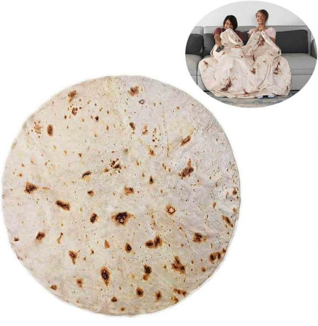 photo of giant tortilla blanket for a funny white elephant gift idea